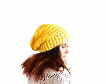 Yellow slouchy beanie for woman crochet beanie oversized slouchy hat winter hat yellow winter hat slouch beanie slouchy hat crochet beanie