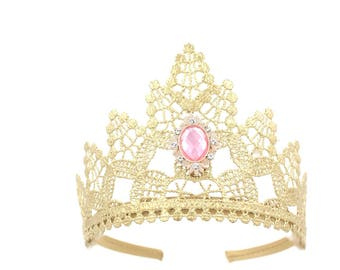 NEW gold princess lace TIARA with pink crystal jewel || Heavenly || Ready to Ship