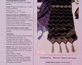 Knitting Pattern | Maureen Mason-Jamieson | THE DIAMOND WRAP | Friendds Of Cabin Fever | Handknitting | Knit Scarf | Accessory