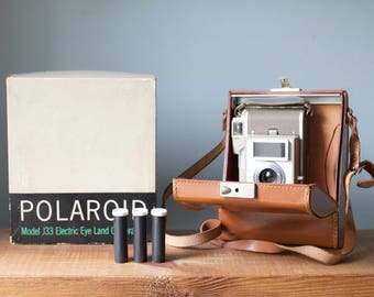 Polaroid Model J33 Electric Eye Land Camera with Folding Bellows, Original Leather Case and Box