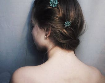 2 pcs green Succulent Hair Pins Hairpin Set Polymer Clay Bobby Pins Hair Decoration Accessory Women Handmade Decoration Wedding Bridal Hair