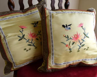 Vintage embroidered silk pillows / Chinese throw pillows - accent pillows / hummingbird, lotus, bird