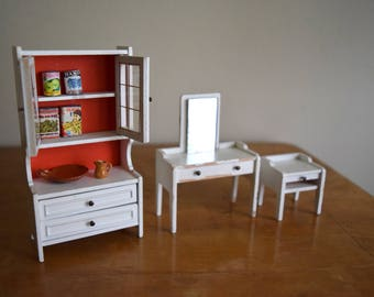 Vintage White Lundby Dollhouse Cabinet, Vanity & Side Table - Miniatures, Mid Century Modern