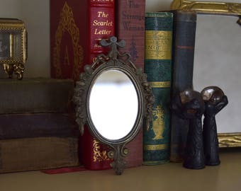 Small Vintage Ornate Oval Framed Mirror - Mid Century, Hollywood Regency, Baroque