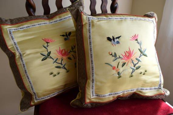 Vintage embroidered silk pillows / Asian print throw pillows - accent pillows / hummingbird, lotus, bird