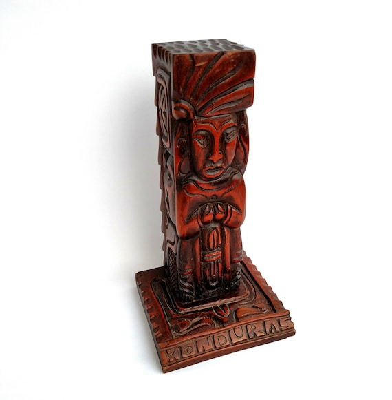 Vintage 1970's Carved Wooden Mayan Figure From Honduras