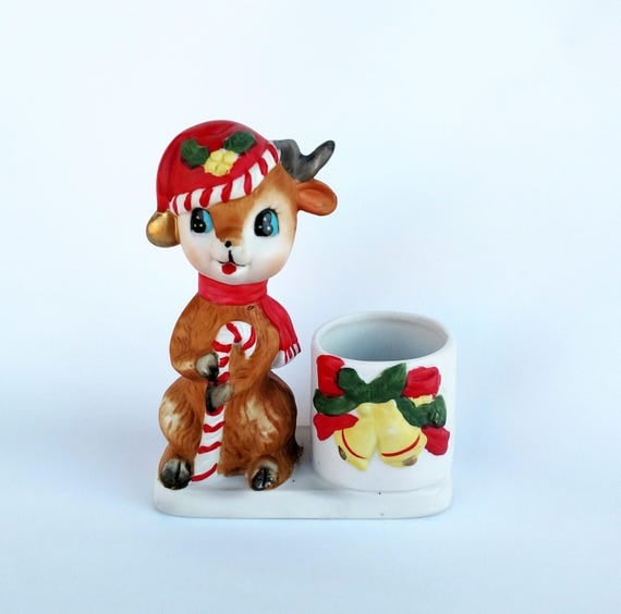 Vintage 1970's Porcelain Christmas Reindeer Candle Holder
