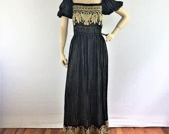 Vintage 70s Mollie Parnis black and gold metallic evening dress - 70s floor length designer party dress - medium