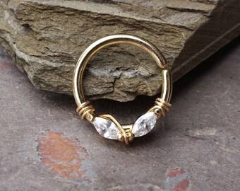 Gold Septum Ring Rose Gold Daith Piercing Rook Earring Hoop