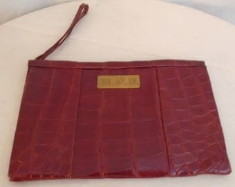 Vintage 1940s Red Leather Clutch Purse Alligator Embossed Old Hollywood