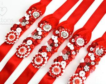 Hand Sewn Bridesmaid / Bridal Wedding Button Wrist Corsage