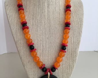 Orange, Red  and Black Pendant Necklace of Jade, Coral and Onyx