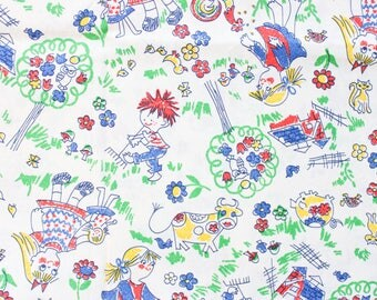 1960's Doodle Children's Cotton Fabric Material . In the garden dog scribble Blue Red Yellow Primary Colors