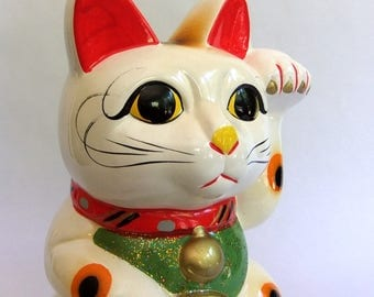 Vintage Large Lucky Cat Bank, Maneki Neko - Hand Painted, Talisman, Good Luck Charm, Coin or Piggy Bank, Ceramic, Hand Painted, Kitty