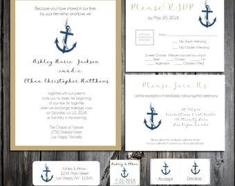 Nautical Beach Anchor Wedding Invitations, RSVP's, Reception Insert w/ FREE Calendar Stickers