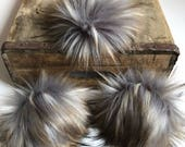 Galaxy Faux Fur Pom Poms Limited Edition Grey Brown Tan Plush Fluffy Handmade Vegan Cruely Free for Toques Beanies Hats