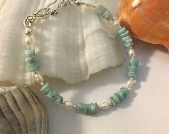 Larimar and Pearl Bracelet Handmade Caribbean Blue Atlantis Stone and White Freshwater Pearl Jewelry Beachy Sky Blue and White Bracelet