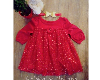 Red and Gold Holiday Outfit, Baby's 1st Christmas Dress, Twinkle Little Star Dress, Red and Gold Glitter Tulle Dress, Gold Star Tutu Dress