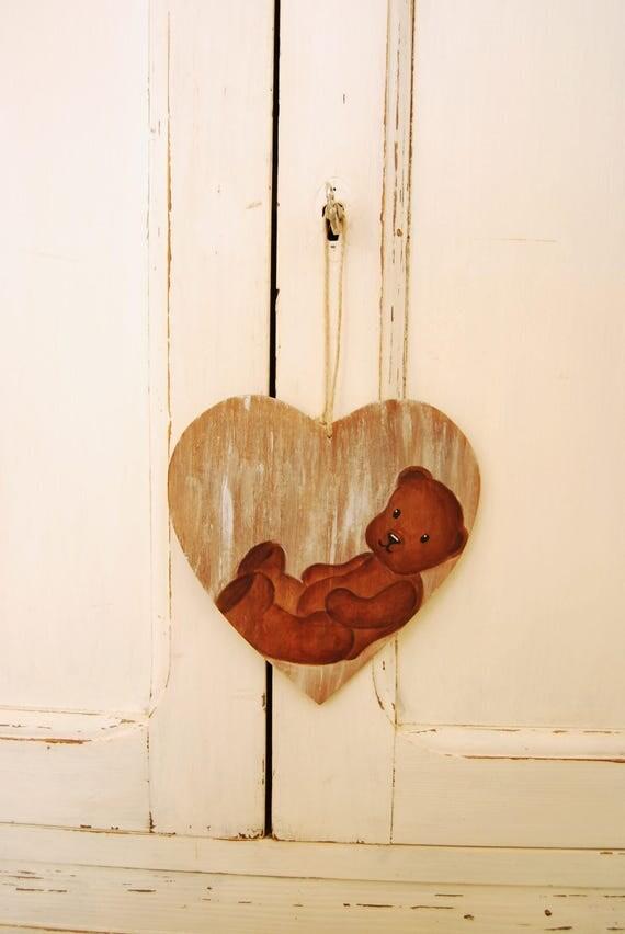 Tableau coeur nounours sur bois accroche porte shabby chic - Coeur nounours ...