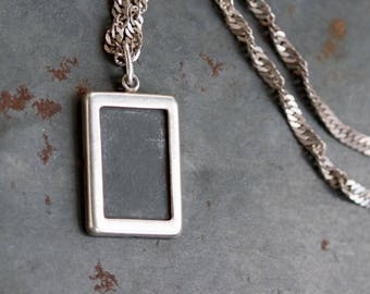 Photo Locket Necklace - Sterling Silver Miniature Picture Frame Pendant on Chain.