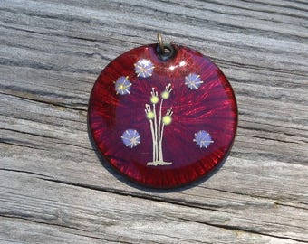 Vintage Ruby Red Glass Pendant from the 1970's with Reverse Painting