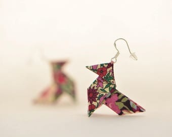 Sterling silver origami earrings plum Liberty