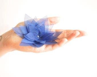 Navy blue organza lotus flower barrette