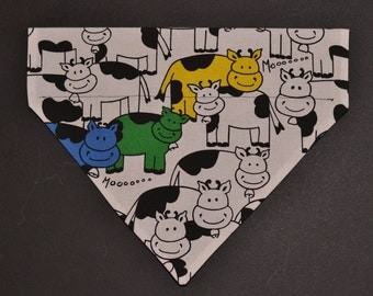 Comic Colorful Moo Cows Farm Dog Bandana Over the Collar 3 Sizes
