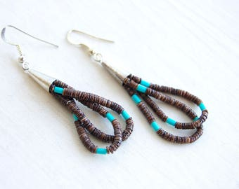 Beaded Dangle Earrings Brown Heishi Shell Dangles Vintage Southwestern Native American Jewelry New Old Stock