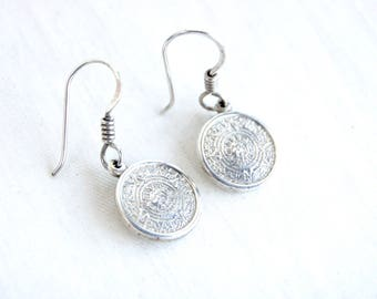 Aztec Mayan Calendar Earrings Vintage Mexican Sterling Silver Dangles Round Drop Discs