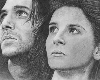 Wuthering Heights Original Pencil Drawing Portrait Ralph Fiennes Juliette Binoche Heathcliff Cathy Realistic Realism