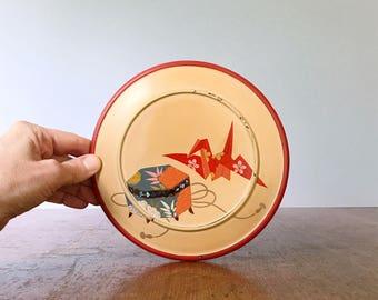 Gorgeous Mid Century Japanese Modern Rust / Orange Inlaid Lacquerware Round Box