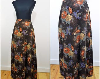 Autumn Flower VINTAGE 1970s Bohemian Brown Corduroy Maxi Folk Skirt UK 10 FR 38 / Hippy / Country Chic