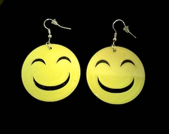 SMILEY FACE Pierced Dangle Earrings Bright Yellow & Black Big
