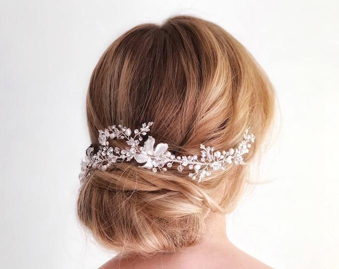 Bridal Hair Vine, Silver leaf hair piece, gold hair vine, bridal hairpiece, wedding hair piece, gold wedding hair vine, wedding accessory