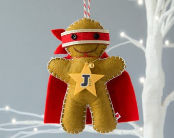 Gingerbread Ninja Decoration - Gingerbread Man Decoration - Personalized Christmas Ornament - Gingerbread Man - Superhero Decoration