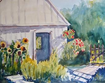 Watercolor Painting Back Yard Shed  Original Watercolor Painting Original Art Garden Flowers CarlottasArt