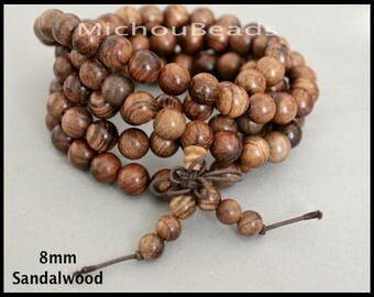 25 Beads SANDALWOOD Mala Beads - 8mm Round Natural BROWN Grade A Prayer Yoga Meditation Buddhist Beaded for Stretch Wrap Necklace Bracelet