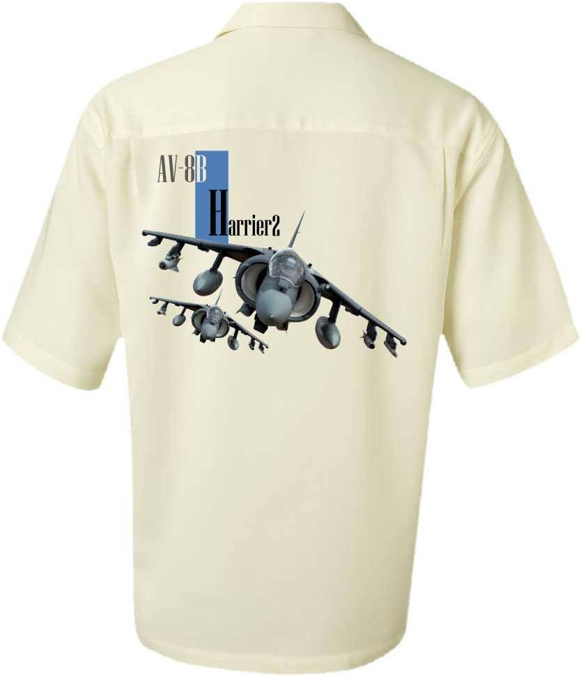 Men's Airplane Shirt-AV-8B Harrier 2-Men's Aviation Shirt,Ivory-Military Gift,veteran gift,men's gift, For him,aviation gift,pilot gift
