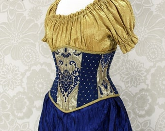 """Steampunk Renaissance Blue & Gold Steel Boned Waspie Corset w/Solid Front -- Corset Size 26, Fits Waist 29""""-31"""" -- Ready to Ship"""