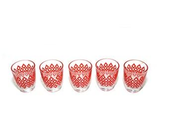 Vintage Red Shot Glasses Retro Shot Glasses Diamond Shot Glasses Red Shot Glass French Shot Glasses Set of 5