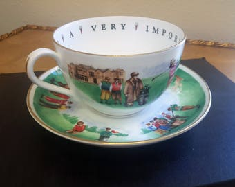 Royal Worcester Golfing Cup and Saucer Porcelain To A Very Important Person Hole In One Golf Gift