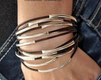 Leather and Silver Bracelet - 14 Strand Leather and Sterling Silver Bracelet - Leather Jewelry -Silver Jewelry - Sterling Silver and Leather