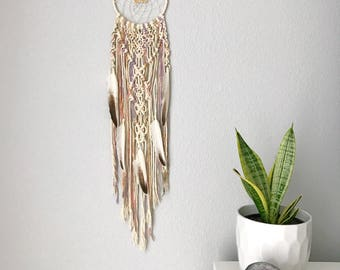 Pastel Macrame Dream Catcher // Citrine Crystal Wall Hanging, White Brown Feathers, Colorful Ombre Yellow Green Purple Pink, Boho Home Decor