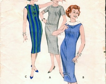 Neat Vintage 1950s Butterick 8624 Slim Chemise Wiggle Dress Sewing Pattern Bust 32