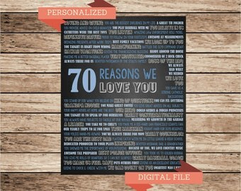Reasons I Love You - Reasons We Love You - 40 50 60 70 - 1948 1958 1968 1978 - Custom Printable Poster - Dad Father Uncle Grandpa Group Gift