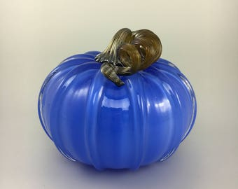 "5"" Glass Pumpkin by Jonathan Winfisky - Opaque Electric Blue - Hand Blown Glass"