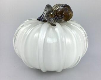 """5"""" Glass Pumpkin by Jonathan Winfisky - Opaque Winter White - Hand Blown Glass"""