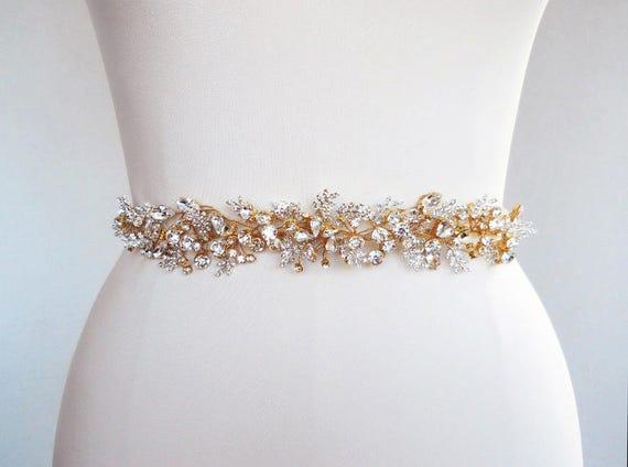 Bridal swarovski crystal sash belt in gold or silver beaded for Gold belt for wedding dress