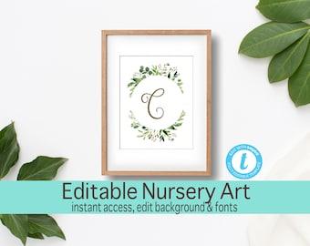 Personalized Nursery Wall Art, Letter Nursery Art, Editable Name Print, Baby Girl Nursery, Baby Shower Gift, New Mom Gift, Gift For Baby